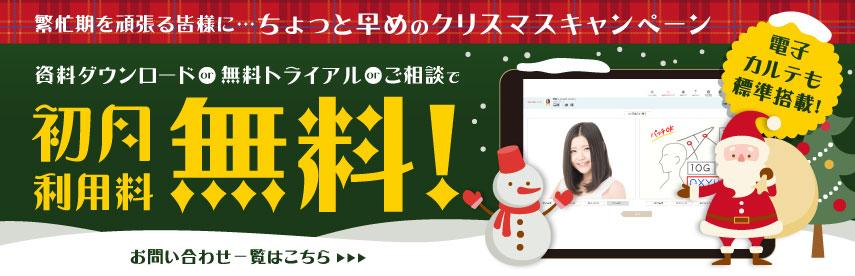 繁忙期を頑張る皆様に…ちょっと早めのクリスマスキャンペーン 資料ダウンロードor無料トライアルorご相談で、初月利用料無料!電子カルテも標準搭載